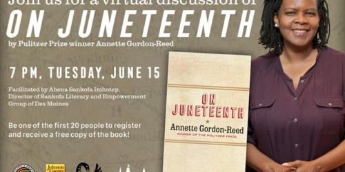 A graphic promoting the virtual discussion of the 'On Juneteenth' book.