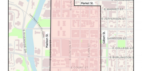 Map of downtown Iowa City tow-away zone