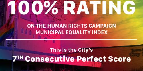 A graphic about the City's rating on the Human Rights Campaign Municipal Equality Index.