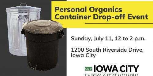 A graphic for a curbside container drop-off event on July 11, 2021.