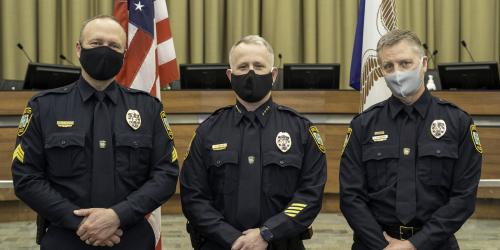 From left to right: Sergeant Doug Roling, Chief Dustin Liston, Lieutenant Jerry Blomgren.