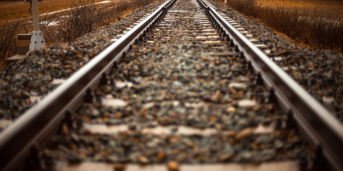 A picture of railroad tracks is shown.