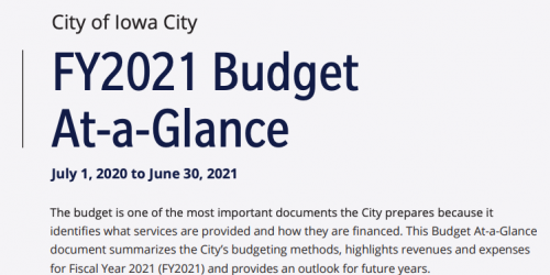 The cover of the City's Budget At-a-Glance document.