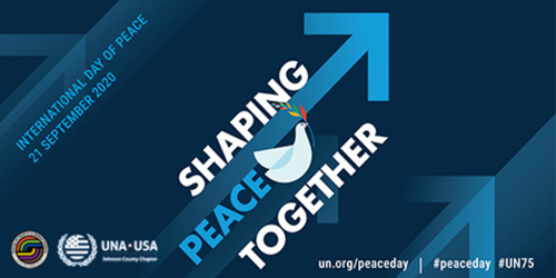 The logo for the International Day of Peace, feature a white dove in the center, is shown.