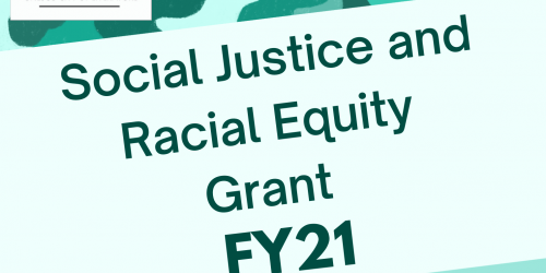 A graphic with cartoon humans of different skin colors used to promote the City's Social Justice and Racial Equity Grant.