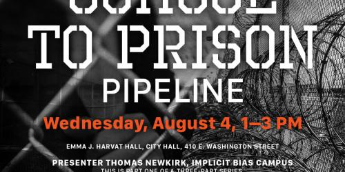 A graphic promoting a three-part presentation on the school-to-prison pipeline.