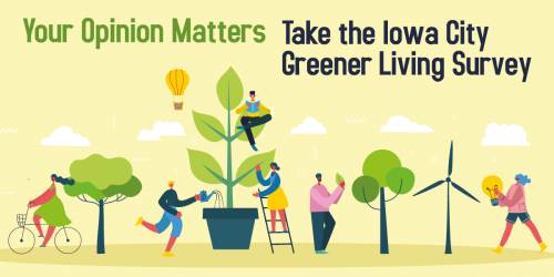 A graphic for the Greener Living Survey that shows people watering trees, riding bikes, and more.