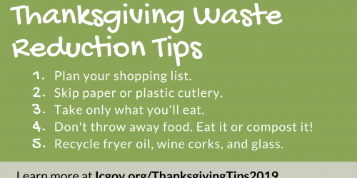 A graphic with tips on how to reduce waste on Thanksgiving.