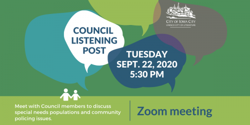 Graphic for Council Listening Post on Sept. 22, 2020, over Zoom.