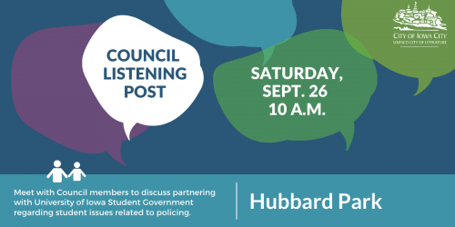 Graphic for City Council Listening Post at 10 a.m. on Saturday, Sept. 26, 2020.