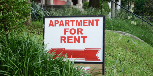 A for rent sign is shown.