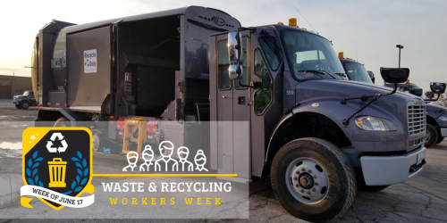 An image of a City garbage and recycling truck is shown.