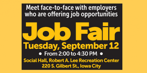A graphic promoting the upcoming Job Fair
