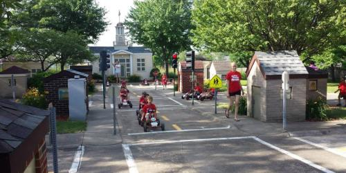 Children learning in Iowa City's Safety Village.
