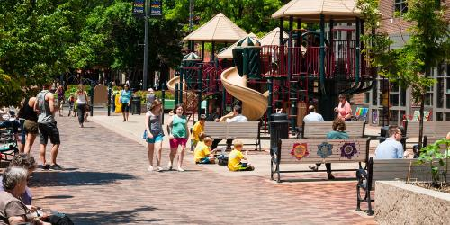 Children playing in the Pedestrian Mall playground