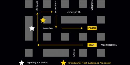 Map of UI Homecoming Parade.