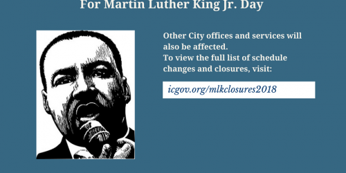 A graphic promoting MLK holiday closures.