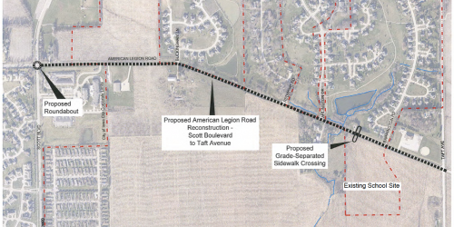 Map of American Legion Road Improvements Project.