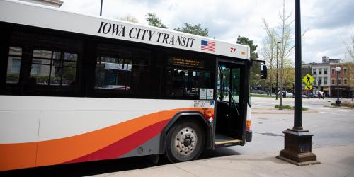 A new City of Iowa City bus is shown.