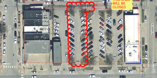 A map of a construction project off of Market Street from July 8-July 23, 2021.