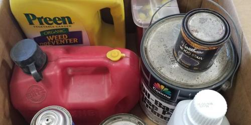 A box of household hazardous materials like paint and engine oil is shown.