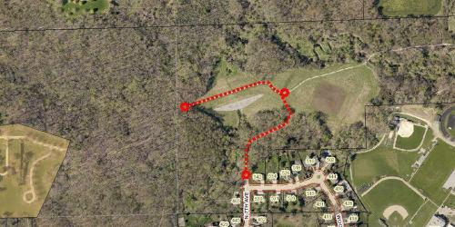 A map of the trail closure at Hickory Hill on April 21, 2021.