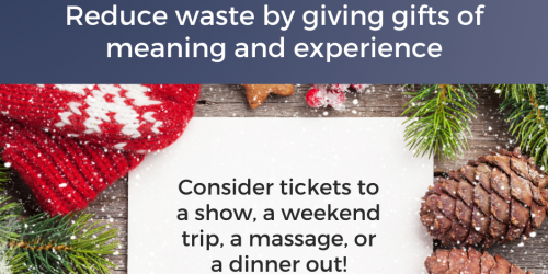 A graphic showing a tip on how to reduce waste during the holiday season is shown.
