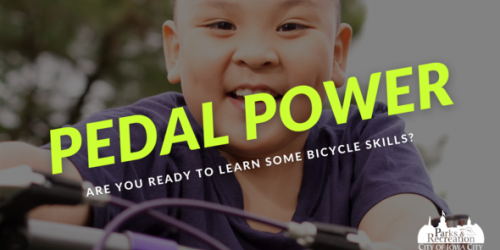 "A graphic with a child riding a bike with the words ""pedal power"" shown."