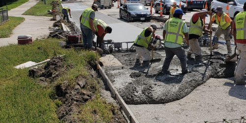 An image of crews working on the four lane to three lane conversion.