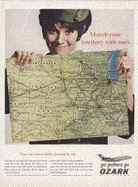 A 1966 Ozark advertisement. A female flight attendant holds a map and smiles.