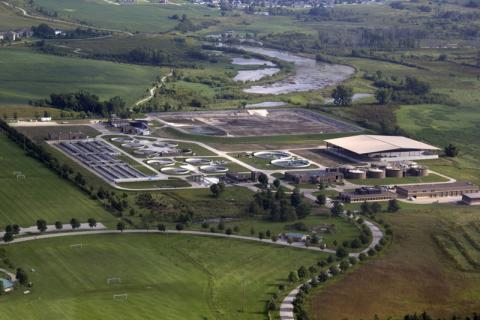 Aerial view of the Iowa City Wastewater Treatment Plant