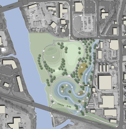 River Front Crossings Park rendering