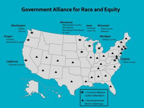 A map of the United States that shows cities that are involved in the Government Alliance on Race and Equity.