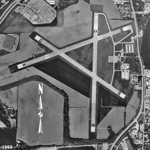 An aerial map of the Iowa City Municipal Airport