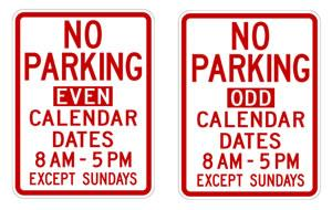 Examples of street signs for odd/even side of the street parking