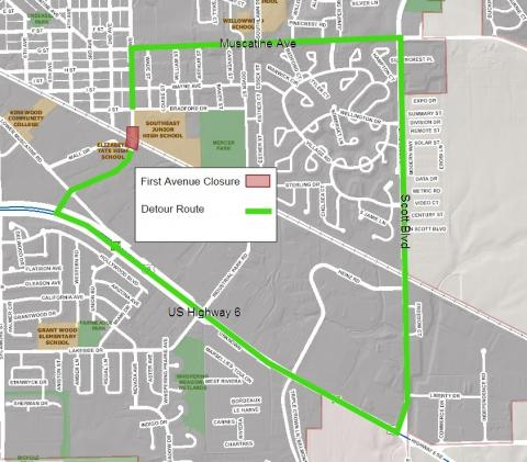 First Avenue Grade Separation Project road closure and detour map