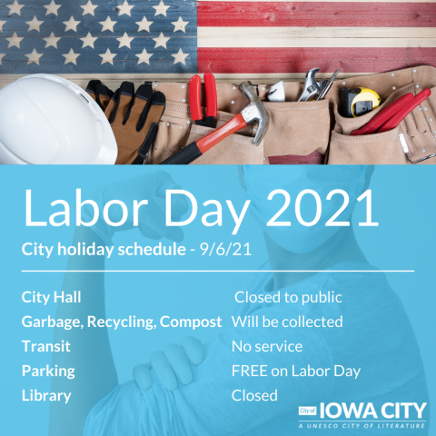 A graphic for holiday closures for the City of Iowa City.