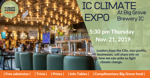 Poster for the IC Climate Expo at Big Grove Brewery IC