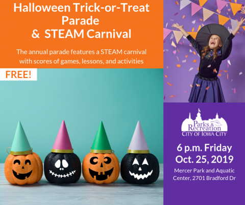A graphic for the Halloween Parade and Carnival.