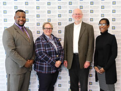 City council-member Bruce Teague, HRC Vice President of Political Affairs JoDee Winterhof, Mayor Jim Throgmorton, and Human Rights and Equity Director Stefanie Bowers.