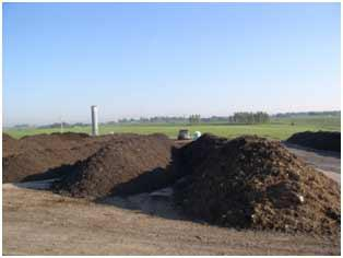 Compost piles at the Iowa City Landfill and Recycling Center.