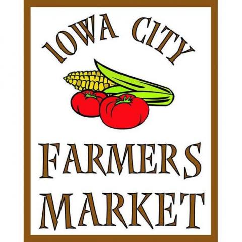 Iowa City Farmers Market logo with an ear of corn and two tomatoes