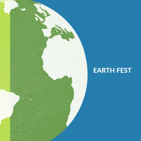 Earth Fest with blue background and green Earth