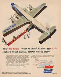 A United 54DC7 advertisement.