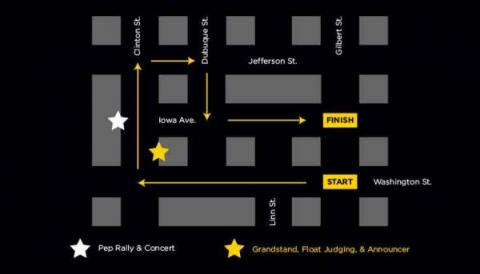 A map of the 2017 UI Homecoming Parade Route.