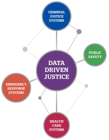 A model showing how Data Driven Justice connects emergency services.