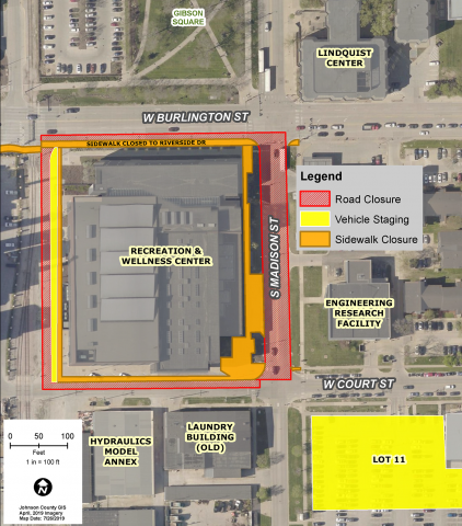 Map of active shooter training in downtown Iowa City.