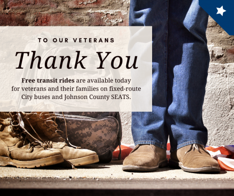 Graphic saying that veterans can ride City transit for free on Veterans Day.