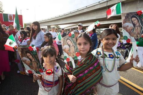 Children celebrating Our Lady of Guadalupe Day