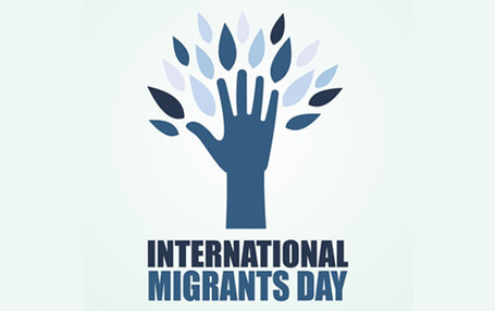Tree and hand representing International Migrants Day